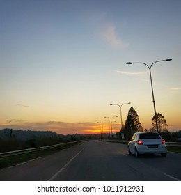 On the road while sunset