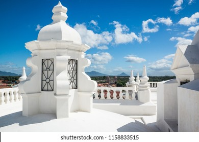 on the roof of the white cathedral of Leon in Nicaragua