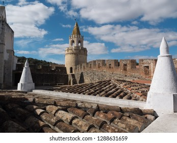 On the roofs of Viana do Alentejo castle, Evora, Portugal.