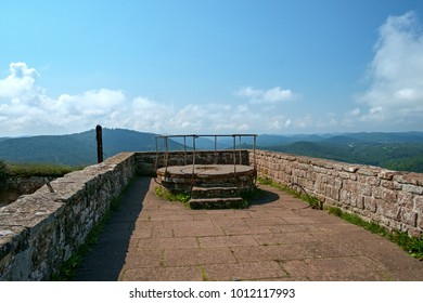 On the rooftop terrace of the Madenburg castle ruin in the Palatinate, Germany.
