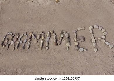 On the sand,   GRAMMER  , lettering