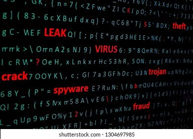 on screen of pc monitor string of words leak, virus, spyware, Trojan denoting types of computer and network threats highlighting in red font among chaotic set of computer green symbols. Side view