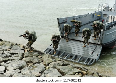 On September 15, 2014, the Korean Navy and Marine Corps is reenacting the Incheon Landing Operation in Wolmido Island, Incheon, South Korea.