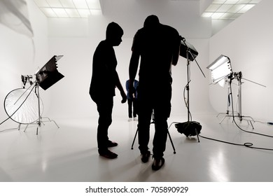 On the set in the studio