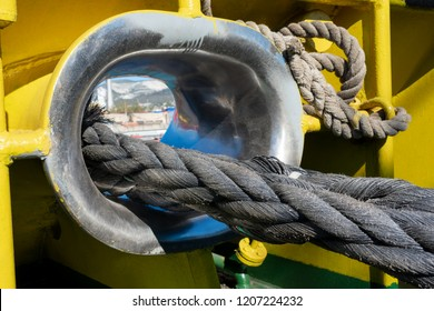 On the ship. Berthing. Mooring ropes. Tug. Navigation. Tow rope. Towing operations. Hawse. Moored vessel.