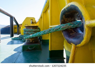 On the ship. Berthing. Mooring ropes. Tug. Navigation. Tow rope. Towing operations. Hawse. Moored vessel. Bollard