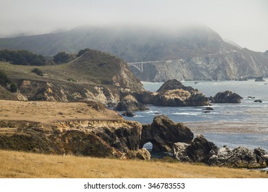 On shore of Highway 1 with view on bridge, California