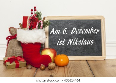 """On sixth december is st nicholas' day"" written in german"