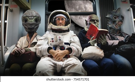 On a spaceship, an astronaut, sitting alongside extraterrestrial monsters, travel in total relaxation reading a book. Concept of space transport, surrealism, future, new worlds.