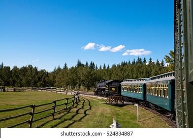 On a steam locomotive in Calgary's Heritage Park, Alberta, Canada