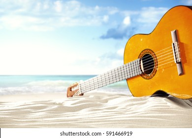 on a sunny beach was just a guitar and music