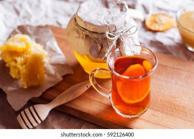 on the table honey and tea
