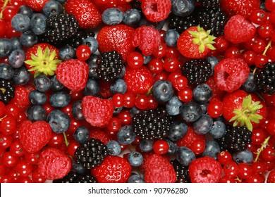 On a table are lying strawberries, bilberries, red currants, raspberries and blackberries