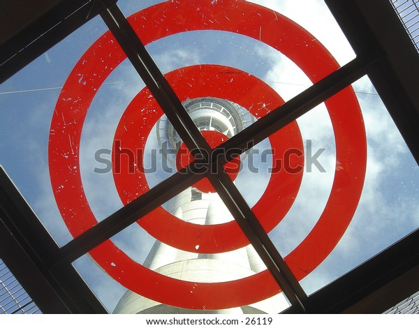 On target!  A landing platform for those who choose to jump (with cables) off Auckland, New Zealand's, Sky Tower