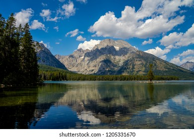 On this calm day at Leigh Lake in the Grand Teton NP in Wyoming, the mountain reflection is just about crystal clear.