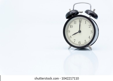 ON TIME concept, clock on white background