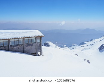 On the top of Dragon snow mountain in Lijiang Kunming China has a building which covered by snow