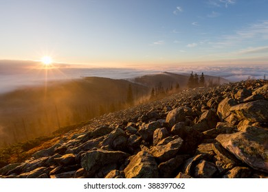 on top of Lusen mountain in the Bavarian Forest, Germany, 1.373m
