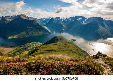 On the top of Mount Saksa in Norway viewing the beautiful scenery below