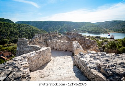 On top of the old fortress towering over the town of Skradin, Croatia