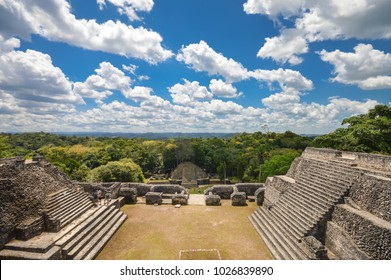 On top of one the Caana pyramid at Caracol archaeological site of Maya civilization with panoramic landscapes view of the territory of ancient hidden Caracol city, Cayo District, Belize