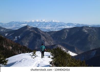 On the top of Malý Rozsutec 1 343 m in Malá Fatra mountains, Slovakia