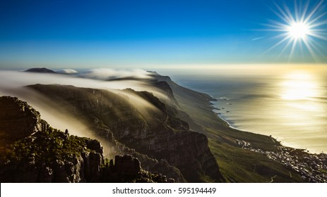 On top of Table Mountain during sunset