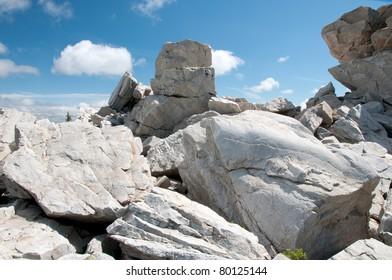 On the top of Zuratkul mountain ridge, South Ural, Russia
