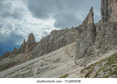 On trail #541 from Vaiolet refuge to Cigolade pass, Mugoni & Coronelle mountains, Catinaccio mountain group, Dolomites, South Tyrol, Italy