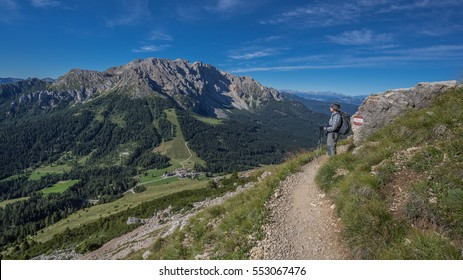 On trail 549 from Roda di Vael  to Coronelle refuges, at the foot of Masare ridge, Roda del Diavolo, Roda di Vael, Testone del Vajolon, La Sforcella mountains, Catinaccio group, Dolomites, Italy
