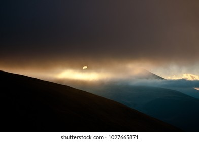 On the Transalpina Highway (Parâng mountains, Romania) at dusk, late October