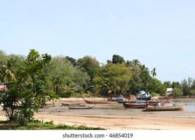 On the tropical beach. Province Trang Lanta. Koh Mook island. Kingdom Thailand