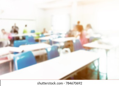 On vintage tone, blur image of children classroom.