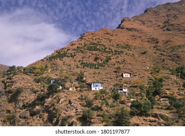 On the way to Bharmaur town in Chamba district of Himachal Pradesh one can see scattered houses on tough mountainous terrains
