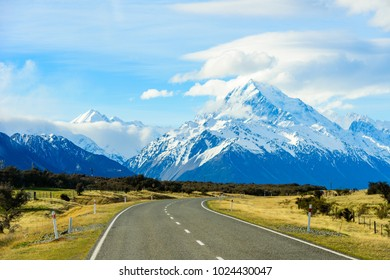 On The Way Road to Mount Cook New Zealand