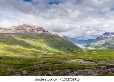 On the way to Seyðisfjörður / Seydisfjordur  with a stunning view over the town