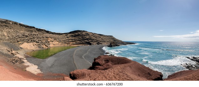 On the west coast of Lanzarote one finds a landscape of contrasts. There is a crater of an ancient volcano sunk in the Atlantic Ocean, where it has formed a lake called Charco de los Clicos.