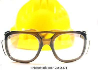 on a white background, goggles and yellow construction helmet