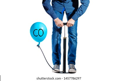 on a white background, a pump and a balloon, a man shakes a balloon that says CO