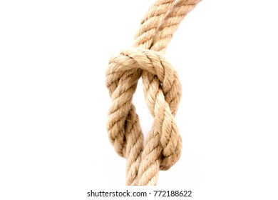 On a white background is a rope with knot.