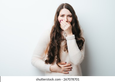 on a white background a young girl with long hair nausea