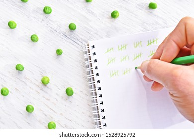 On a white block, strokes were made with a green pencil to count peas lying next to it - concept of accuracy and precision, as well as counting and questioning represented by pea counting