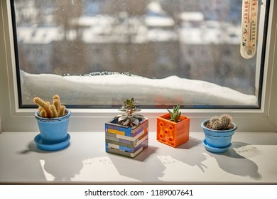 On the window-sill in the flowerpots are flowers, outside the snow-drifts. The houses are cozy and warm.
