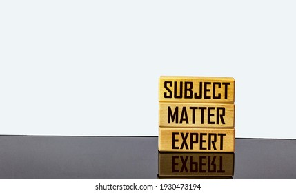 On wooden blocks the inscriptions SUBJECT, MATTER, EXPERT. Business concept
