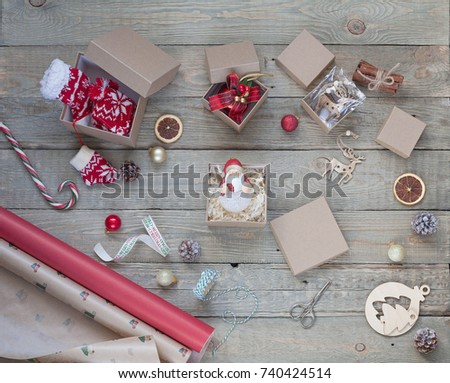 On Wooden Table Christmas Gifts Boxes Stock Photo Edit Now