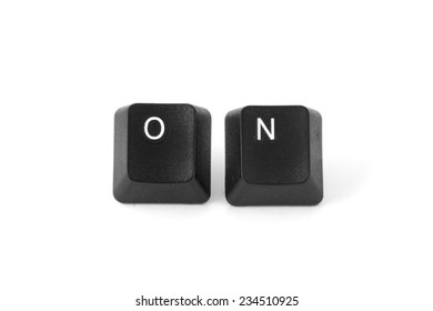 ON word written with computer black buttons over white background