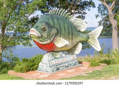 ONALASKA, WISCONSIN USA. JULY 26 2018 Giant sculpture of Sunny the Sunfish on Highway 35 welcomes visitors to Onalaska.