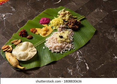 Onam sadhya (A meal served on a plantain leaf on the auspicious occasion of a festival called Onam)