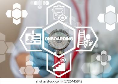 Onboarding Employee Welcome Medical Concept. Onboard Medicine Career New Job.