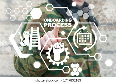 Onboarding Process Soldiers Career Ladder Management Concept. Military Service Onboard.